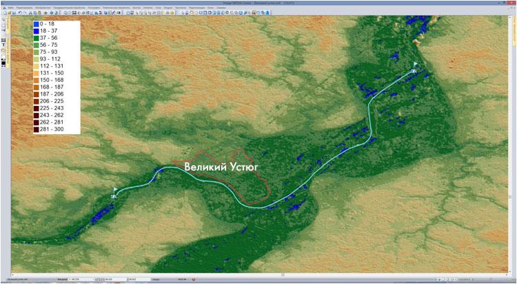 Модель местности (рельефа) с наложенными на нее векторными слоями реки и гидропостов