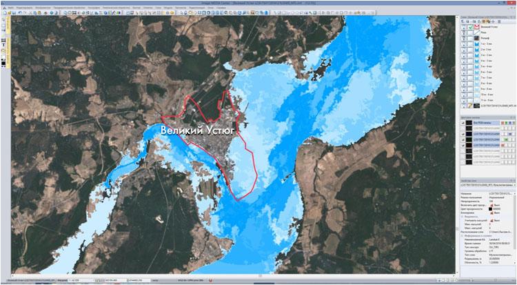Полученный вектор подтоплений наложен на снимок КА Landsat-8